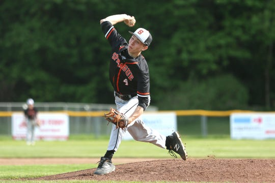 Sprague's Michael Soper (4) pitches during a South Salem High School vs. Sprague High School baseball game at Gilmore Field City Park in Salem on May 3, 2019.