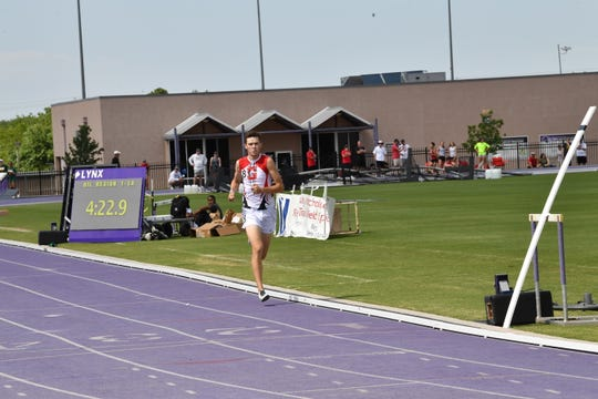 Sonora High School's Evan Shannon races on the way to a Region I-3A record in the boys 1,600 meters at Abilene Christian University April 27, 2019.