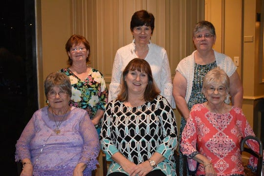 Beta Sigma Phi chapter's Women of the Year are: Grace Braziel, Preceptor Lambda Lambda; Carol Halfmann, Xi Alpha Epsilon Kappa;  Roberta LeClair, Preceptor Iota Omicron; (back row) Jodelle Black, Alpha Gamma Omega; Robyn Gaston, Xi Mu Pi and Jean Stewart, Xi Alpha Nu.