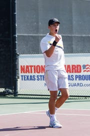 Brady High School's Jack Marshall celebrates a point at the 2018 UIL State Tennis Tournament in College Station.