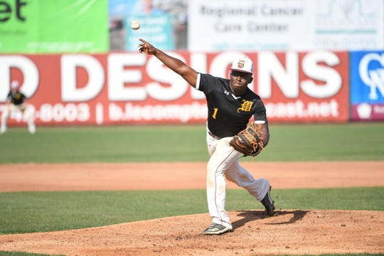 Washington's Keionte Nutter on the mound against Laurel during the game at Shorebird's Stadium on Friday, May 3, 2019.