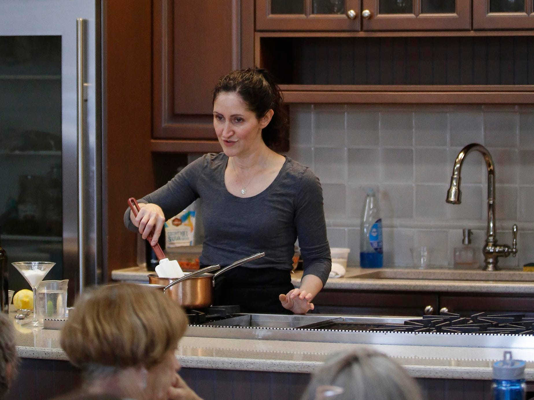 Beth Lipton, Recipe Developer and Writer, explains how to prepare a week's worth of food at one time during a session in the Demonstration Kitchen during Kohler Well-Being, Saturday, May 4, 2019, in Kohler, Wis.