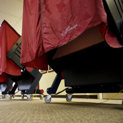 A voting booth waits for voters in Bossier, Louisiana on May 4, 2019.