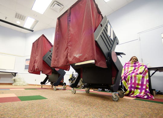 A voting booth waits for voters in Shreveport, Louisiana on May 4, 2019.