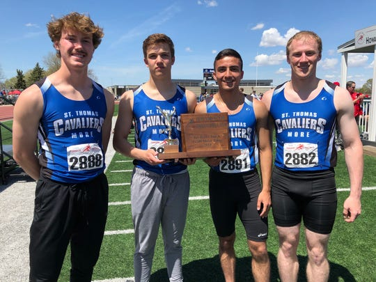 L-R: St. Thomas More's Jacob Hyde, Grant Huber, Matthew McGillick and Corten Dobesch won the Class A 4x200 on Saturday at the Howard Wood Dakota Relays.