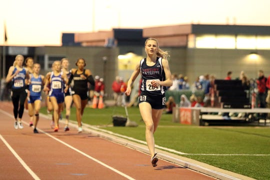 Eventual winner Erin Palmer of Century-Bismarck has the early lead during the Howard Wood Girls Special 800 on Friday night in Sioux Falls.