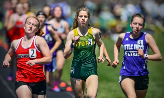 Julia Severson competes for Sauk Rapids-Rice in the girls 800 meter run during the Central Minnesota Mega Meet Saturday, May 4, in Sauk Rapids.