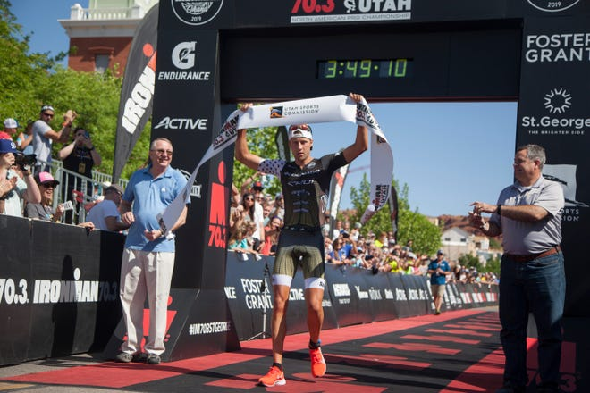 Rudy Von Berg crosses the finish line of the St. George IRONMAN Saturday, May 4, 2019.