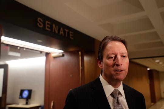 Senate President Bill Galvano speaks to the press after Sine Die Saturday, May 4, 2019.