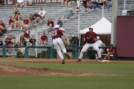 FSU pitcher Drew Parrish tosses to first baseman Nico Baldor as the Seminoles face Pitt on May 3.