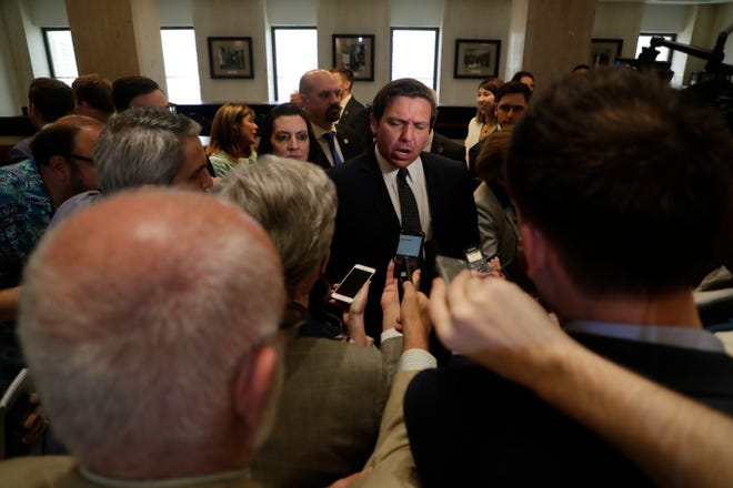 The press interviews Gov. Ron DeSantis after Sine Die Saturday, May 4, 2019.