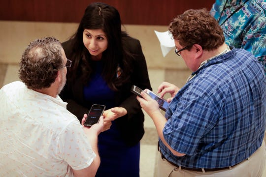 Members of the press interview Rep. Anna Eskamani, D-Orlando, after Sine Die Saturday, May 4, 2019.