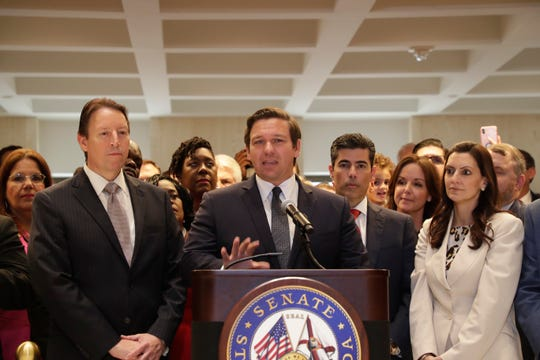 Gov. Ron DeSantis speaks in the fourth floor rotunda after Sine Die Saturday, May 4, 2019.