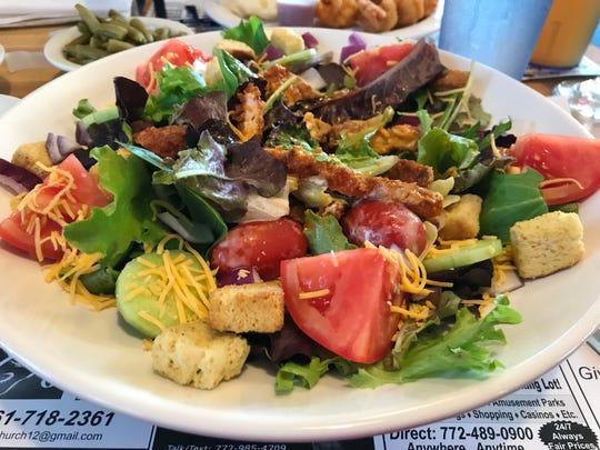 Dino's crispy chicken breast salad had crisp fresh greens and crunchy chicken tenders.
