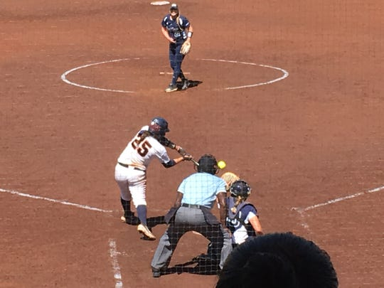 UTEP's Kacey Duffield takes a cut during the Miners' 8-4 Game 1 victory against FIU Saturday afternoon