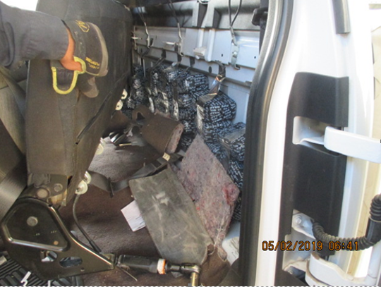 U.S. Customs and Border Protection officers Thursday, May 2, 2019, seized more than 230 pounds of marijuana hidden in a truck at the Paso Del Norte International Bridge.