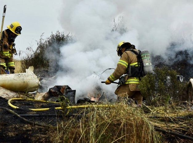 Firefighters responded to a helicopter crash near Oxnard Saturday morning.