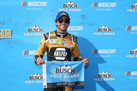 Chase Elliott, driver of the #9 NAPA Brakes Chevrolet, poses with the Busch Pole Award after qualifying for the Monster Energy NASCAR Cup Series Gander RV 400 at Dover International Speedway on May 3, 2019, in Dover, Delaware.