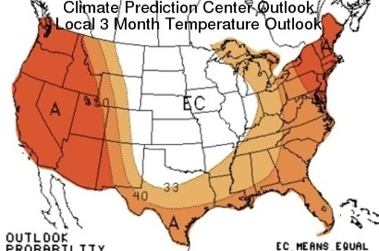 The three-month temperature outlook, as of April.