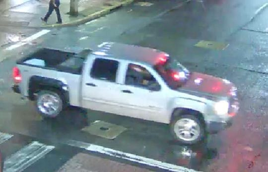 Newark police believe this vehicle, a four-door silver GMC pickup with an extended cab with a tool chest behind it and license plates from an unknown state on the front and the back , was used by a man posing as a ride share driver Friday night who sexually assaulted a 21-year-old woman.