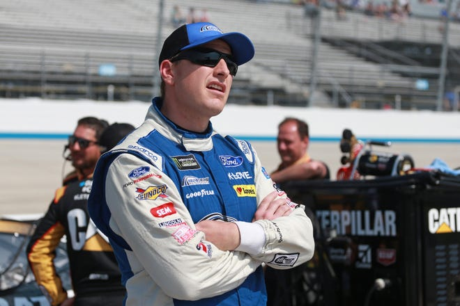 DOVER, DE - MAY 03:  Michael McDowell, driver of the #34 Dockside Logistics Ford, watches during qualifying for the Monster Energy NASCAR Cup Series Gander RV 400 at Dover International Speedway on May 3, 2019 in Dover, Delaware.