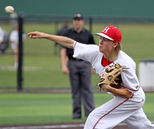 Holliday's Hadley Harrigal pitches against Paradise in Game 1 Friday, May 3, 2019, in Iowa Park. The Eagles defeated the Panthers 5-4.