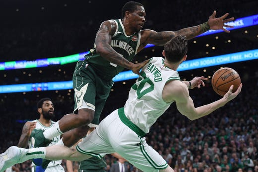 May 3: Boston Celtics forward Gordon Hayward tries to pass the ball against Milwaukee Bucks guard Eric Bledsoe (6) during the first half of Game 3.