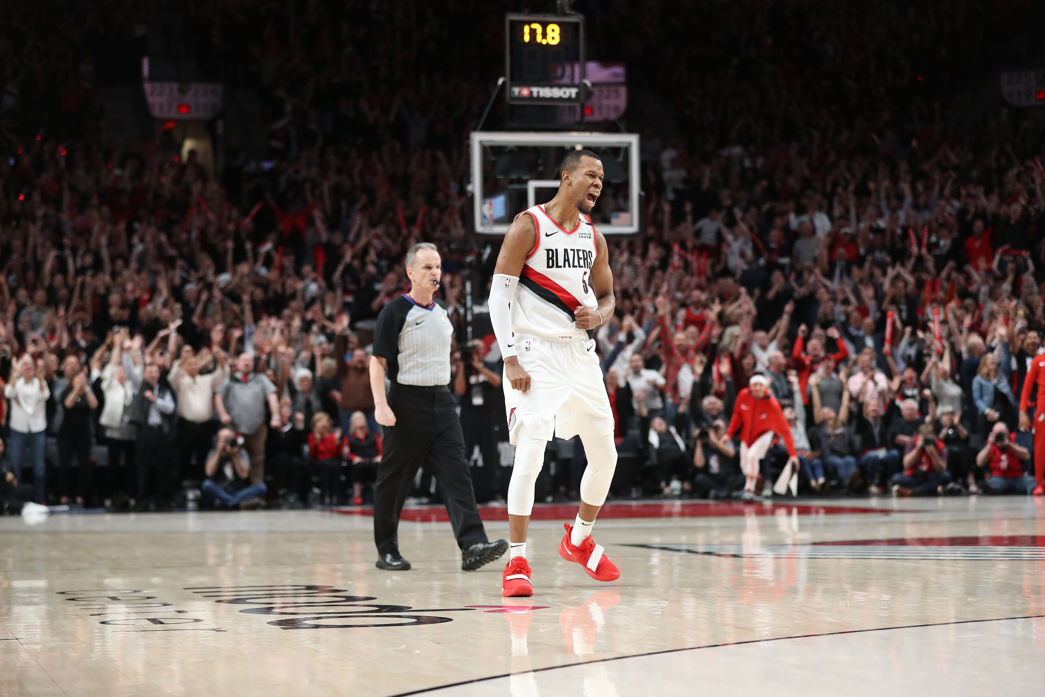 Portland Trail Blazers guard Rodney Hood reacts after hitting what proved to be the winner in the fourth overtime.