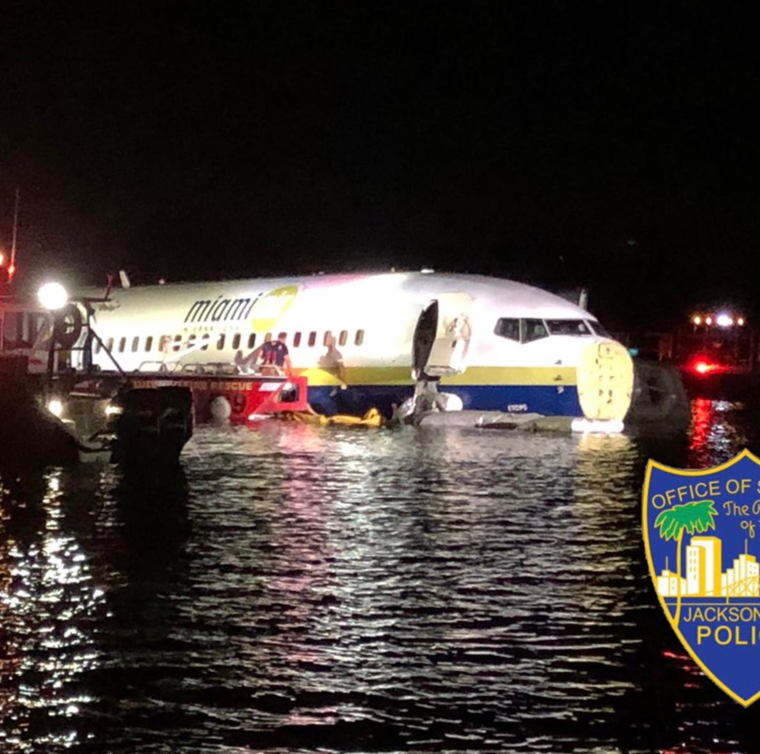 May 3, 2019; Jacksonville, FL, USA; Miami Air International flight 293 is pictured in the St. John's River after overrunning the runway at Jacksonville Naval Air Station. The flight originated from Naval Air Station Guantanamo Bay, Cuba. Mandatory Credit: Jacksonville Sheriff's Office via USA TODAY ORG