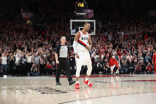 May 3: Portland Trail Blazers guard Rodney Hood (5) reacts after hitting the game-winning shot during the fourth overtime against the Denver Nuggets in Game 3.