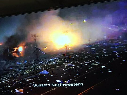 A photo of the fire at the AB Specialty Silicones Factory in Waukegan, Illinois. An explosion at the factory at 9:30 pm on May 4, 2019 injured at least four people.