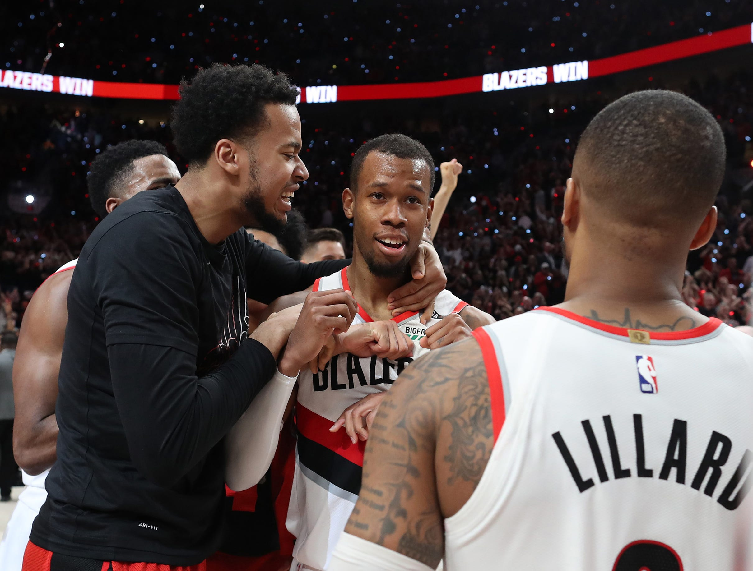 May 3: Portland Trail Blazers guard Rodney Hood celebrates with teammates after a 140-137 quadruple overtime victory in Game 3 against the Denver Nuggets.