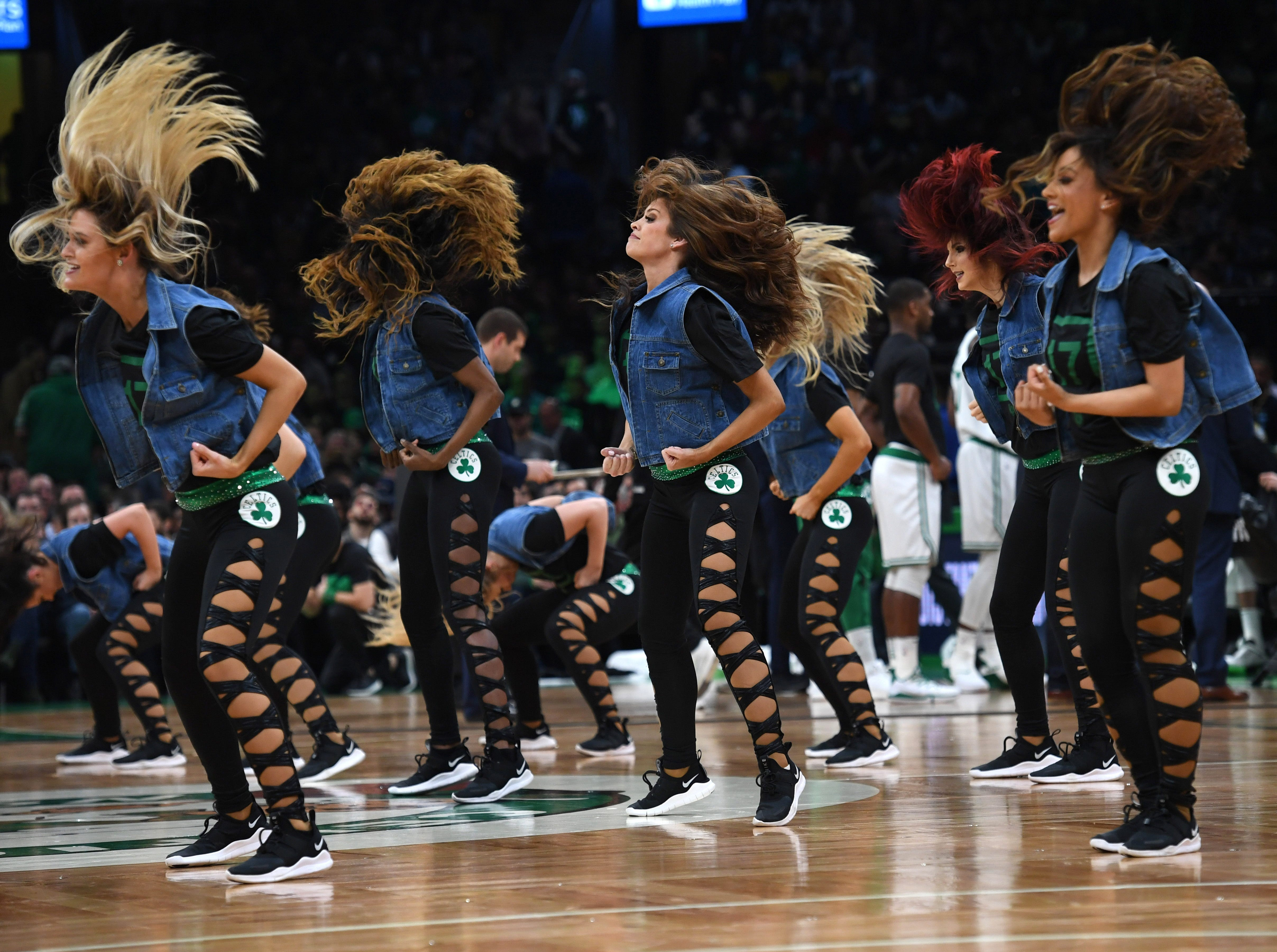 May 3: The Boston Celtics dancers perform during the first half of Game 3 against the Milwaukee Bucks.