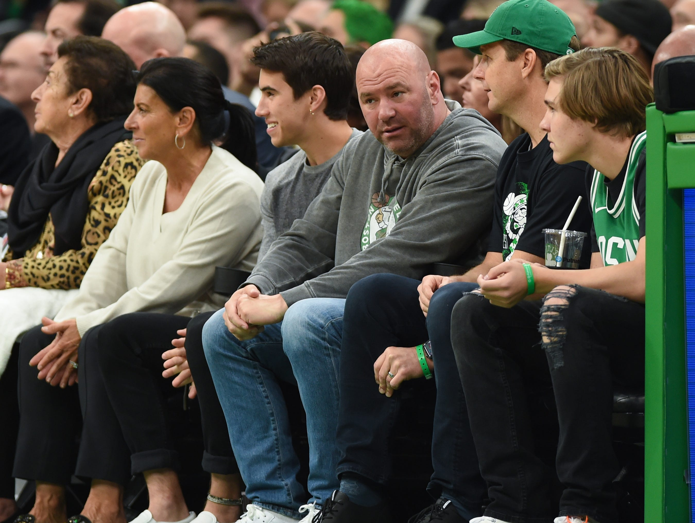 May 3: UFC president Dana White looks on during the first half in Game 3 between the Boston Celtics and Milwaukee Bucks.