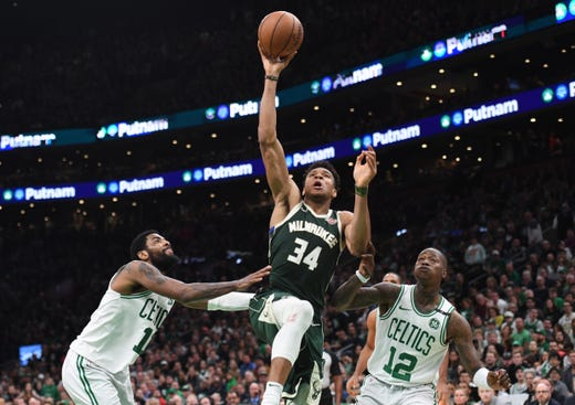 May 3: Milwaukee Bucks forward Giannis Antetokounmpo drives to the basket against the Boston Celtics during the second half of Game 3.