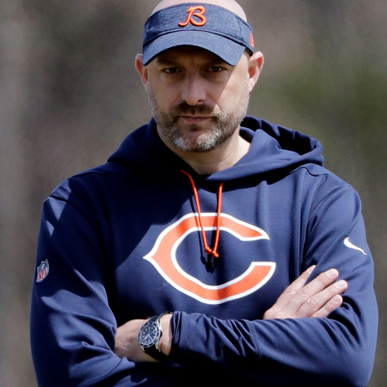 Chicago Bears head coach Matt Nagy watches the team's rookie minicamp.