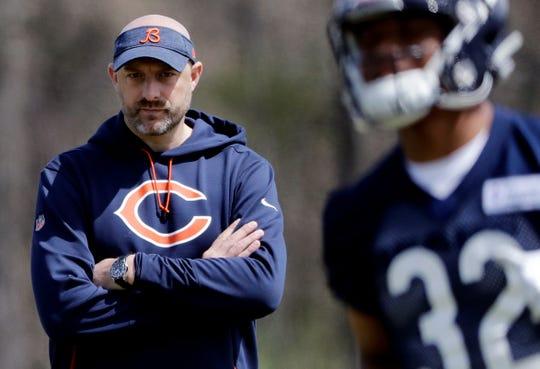 Chicago Bears head coach Matt Nagy watches the team's rookie mini-camp.