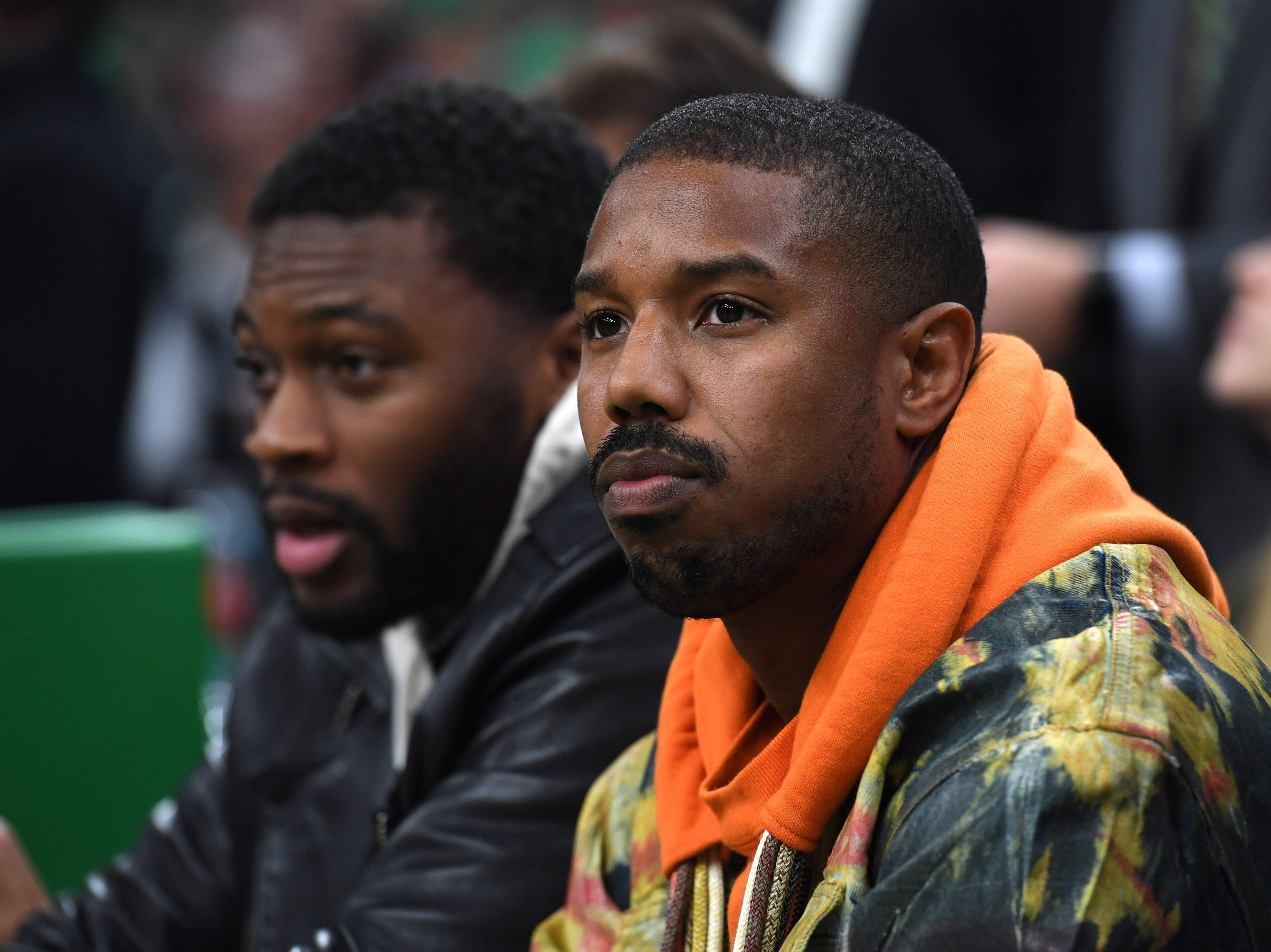 May 3: Actor Michael B. Jordan watches the action during the first half in Game 3 between the Boston Celtics and Milwaukee Bucks.