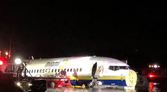 This handout image obtained courtesy of Jacksonville, Florida, Sheriff's Office on May 3 shows a Boeing 737 aircraft after it went off the runway at Naval Air Station Jacksonville and into the St. Johns river, near Jacksonville, Florida.