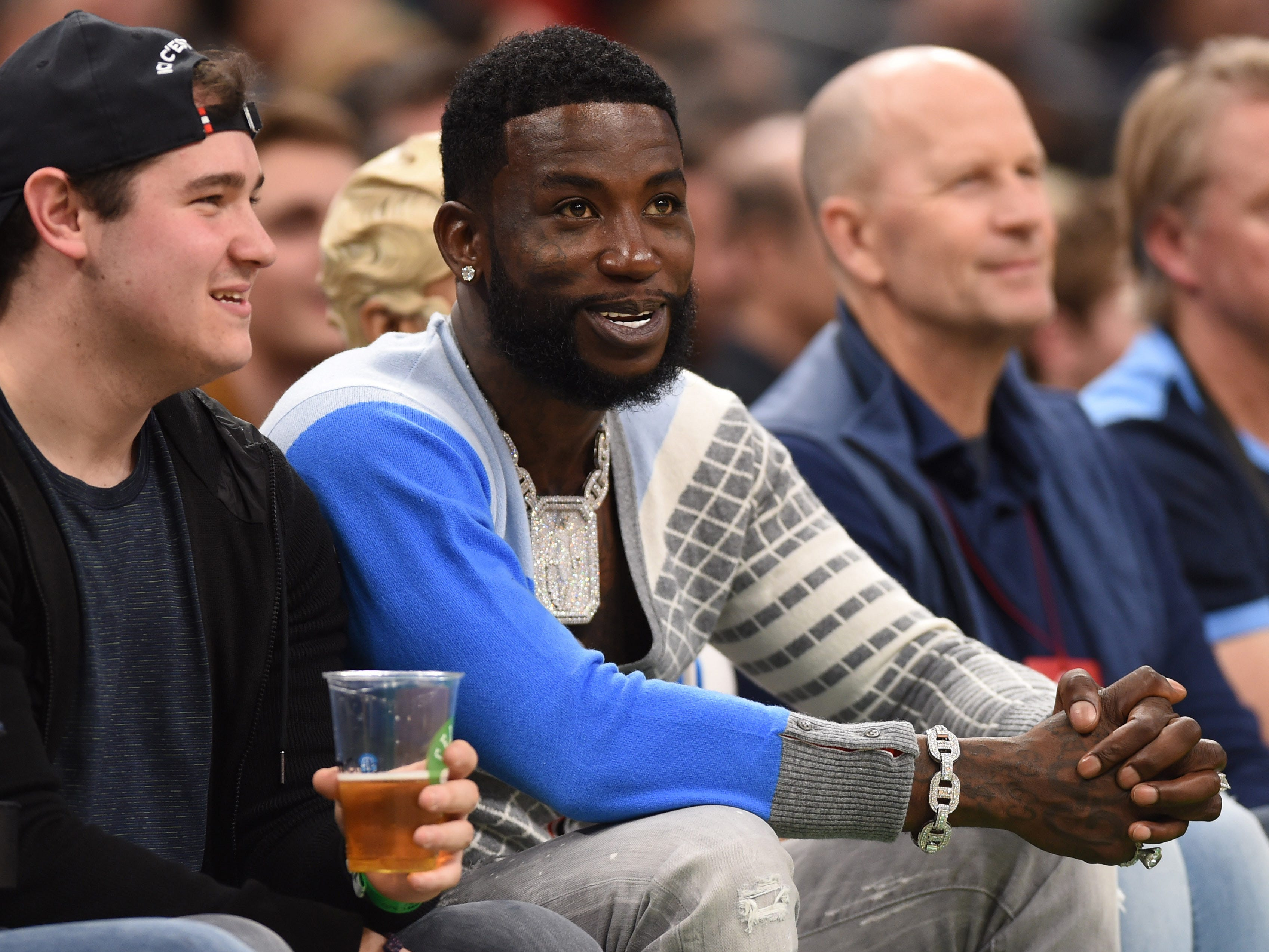 May 3: Rapper Gucci Mane watches during the second half in Game 3 between the Boston Celtics and Milwaukee Bucks.