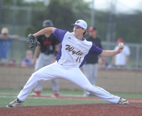 Wylie pitcher Tyler Spears delivers in Game 3 of a Region I-5A bi-district series against Lubbock-Cooper on Saturday, May 4, 2019, at Bulldog Field in Abilene.