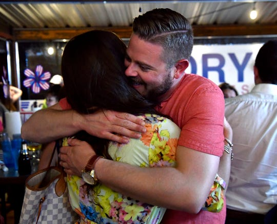 Abilene City Council candidate Cory Clements gets a hug from a supporter during his Election Night party at R Sports Bar & Grill. The Place 5 candidate ran second in a three-person race.
