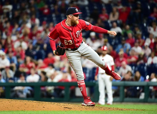 May 4, 2019; Philadelphia, PA, USA; Washington Nationals pitcher Sean Doolittle (63) throws a pitch in the ninth inning against the Philadelphia Phillies at Citizens Bank Park. The Shawnee High jSchool graduate got his fifth save of the season.