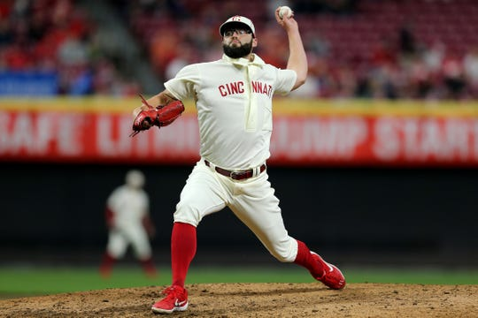 Cincinnati Reds pitcher Cody Reed (23) delivers in the ninth inning during a MLB baseball game against the San Francisco Giants, Saturday, May 4, 2019, at Great American Ball Park in Cincinnati. Cincinnati won 9-2.