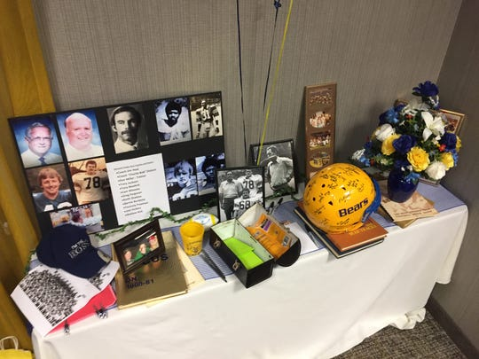 This is the memorabilia table at the West Virginia Tech reunion honoring former coach Roy Lucas Sr.
