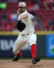 Cincinnati Reds starting pitcher Tanner Roark (35) delivers in the first inning during a MLB baseball game against the San Francisco Giants, Saturday, May 4, 2019, at Great American Ball Park in Cincinnati.