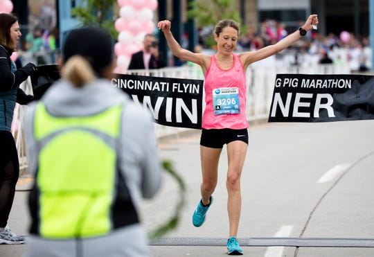 Anne Flower is the women's winner of the Flying Pig Marathon on May 5, 2019, with a time of 2:49:17.