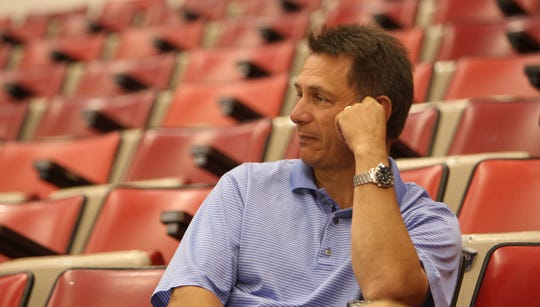 Detroit Red Wings GM Ken Holland watches rookies go through drills July 7, 2008, at Joe Louis Arena.