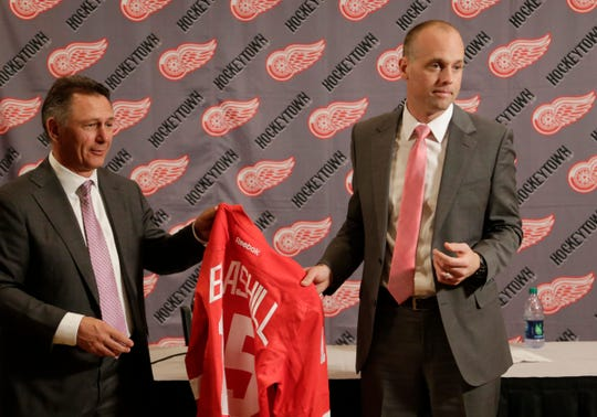 The Detroit Red Wings Ken Holland announces new head coach Jeff Blashill from  Joe Louis Arena on Tuesday June 9, 2015.