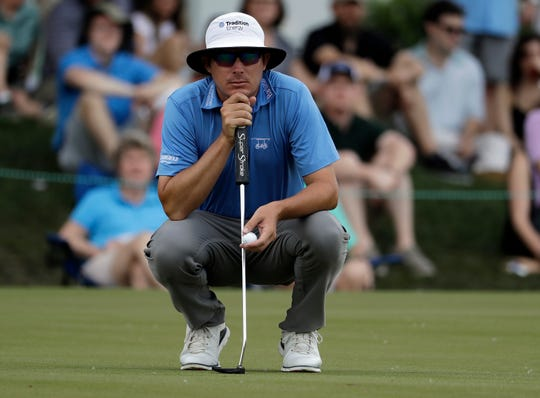 Joel Dahmen lines up a putt on the second hole during the third round of the Wells Fargo Championship.